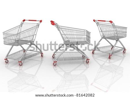 3d models shopping carts isolated on white background - stock photo
