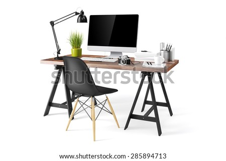 3d modern computer workplace - stock photo