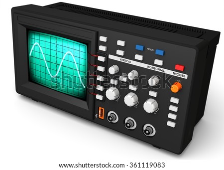 3d modern device oscilloscope on white background - stock photo