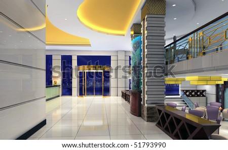 3d modern hall,corridor - stock photo