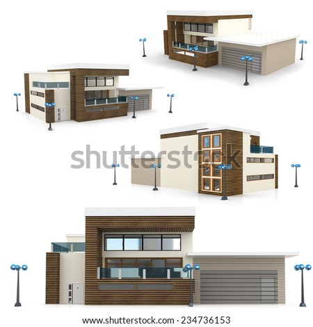 3d modern house collection on white background  - stock photo