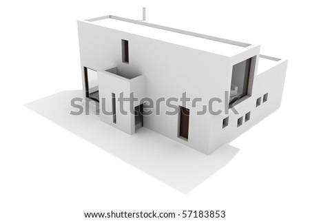 3d modern house, on white background - stock photo