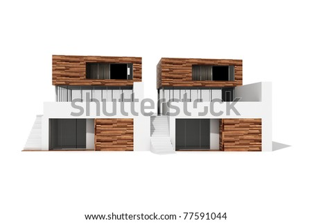 3d modern house, on white background - stock photo