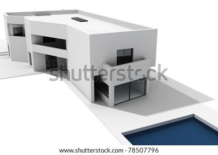 3d modern house render, on white background - stock photo