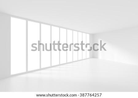 3d Modern Interior Background. White Empty Room - stock photo