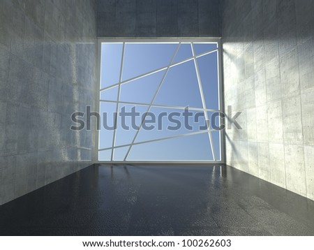 3d modern interior, empty corridor - stock photo