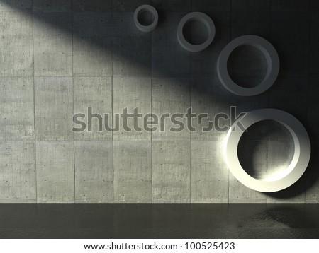 3d modern interior, empty shelf - stock photo