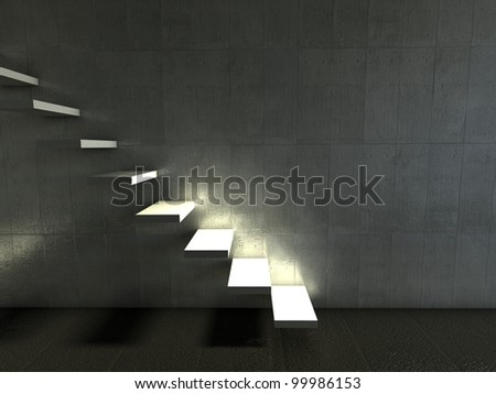 3d modern interior, empty stairs - stock photo