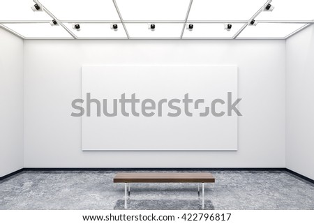 3d modern interior gallery with white walls and canvas - stock photo