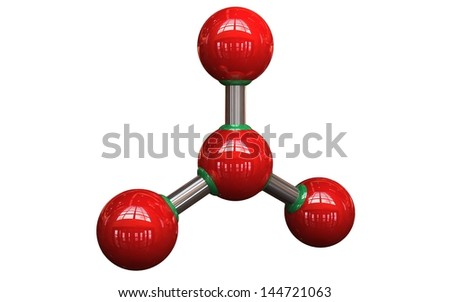 3D Molecule on white background - stock photo