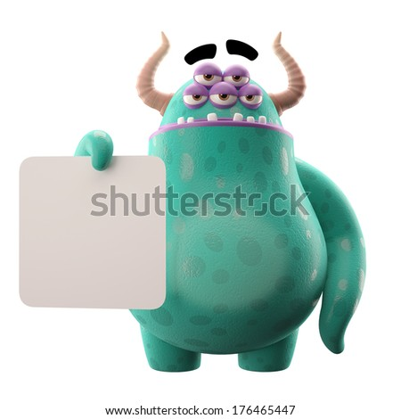 3D monster, mascot, funny character, cartoon icon, joke, fairytale character, cheerful creatures isolated on white background, comic object - stock photo