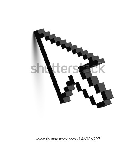 3D mouse arrow cursor with shadow. Raster version. Vector version available in my portfolio. - stock photo