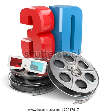 3D movie concept. Film reels and glasses. - stock photo
