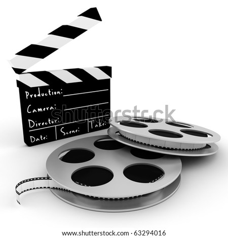 3d movie objects , clipper and reel roll - stock photo