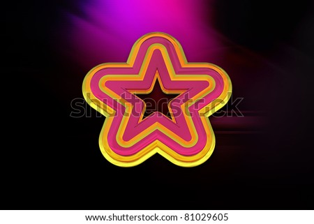 3D Multi-Color Star on a Red Background - stock photo