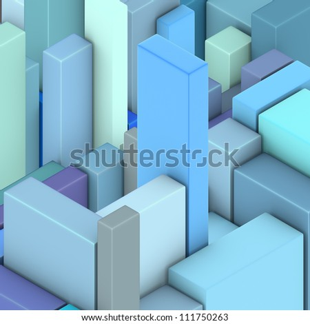 3d multiple blue abstract rectangular shape pattern backdrop - stock photo