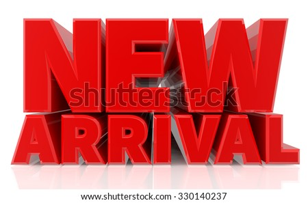 3D NEW ARRIVAL word on white background 3d rendering - stock photo
