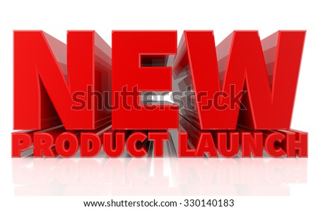 3D NEW PRODUCT LAUNCH word on white background 3d rendering - stock photo