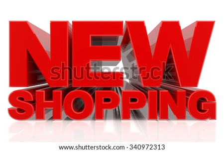3D NEW SHOPPING word on white background 3d rendering - stock photo