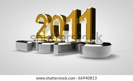 3D new year 2011 rendering - stock photo