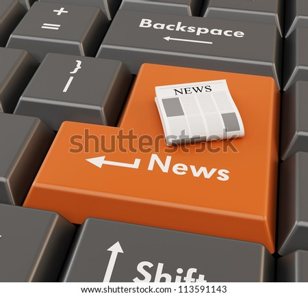 3d newspaper on enter button - computer news concept - stock photo