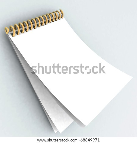 3d notepad on a white background - stock photo