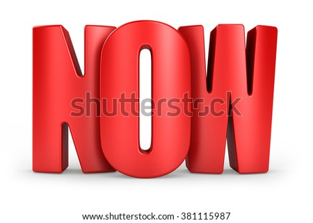 3D Now red text on white background 3d rendering - stock photo