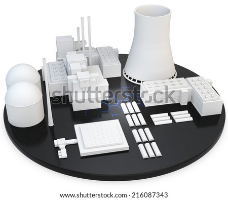 3d nuclear Power Plant on white background - stock photo