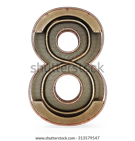 3d number eight 8 symbol with rustic gold metal, mesh, tubes with copper and brass accents.Isolated on a white background. - stock photo