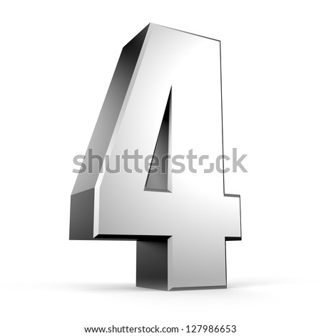 3D number 4 from my metal number collection - stock photo