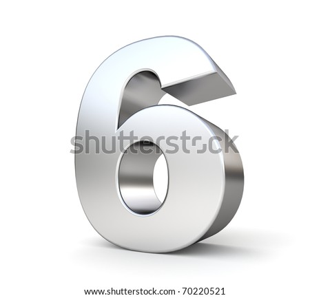 3d number 6 - from my metal number collection - stock photo