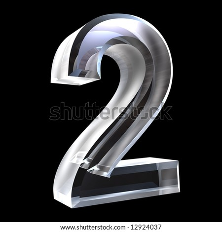 3d number 2 in glass - stock photo