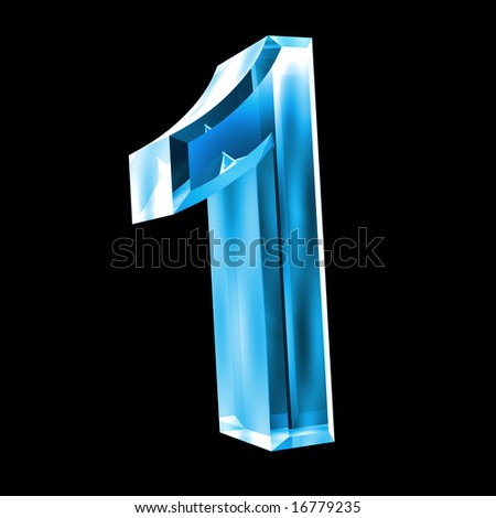 3d number 1 in glass - stock photo