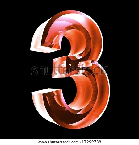 3d number 3 in red glass - stock photo