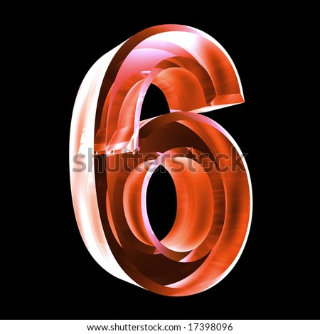 3d number 6 in red glass - stock photo