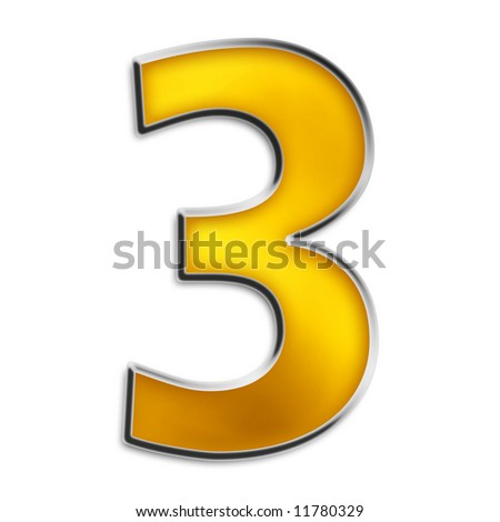 3d number 3 in shiny yellow gold isolated on white series - stock photo