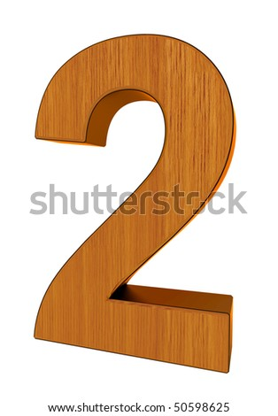 3d number 2 made of wood and cooper - stock photo