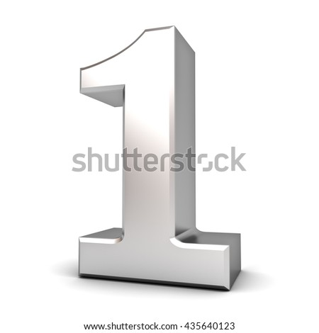 3D number one isolated over white background with shadow. 3D rendering. - stock photo