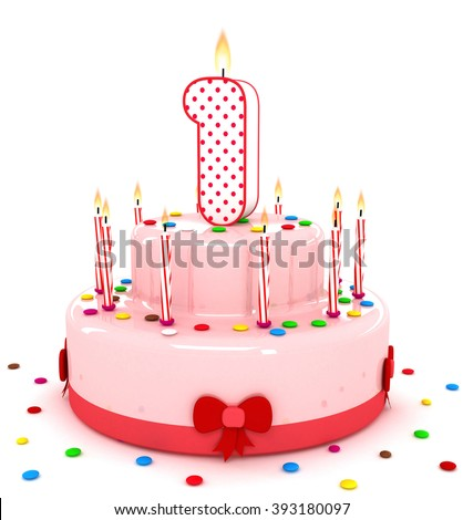 3d number 1 one render colorful birthday cake decorate with candle and sweet - stock photo