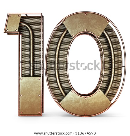3d number ten 10 symbol with rustic gold metal, mesh, tubes with copper and brass accents.Isolated on a white background. - stock photo