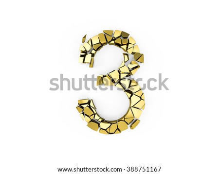 3d Number three destroyed whit gold surface isolated on a white background - stock photo