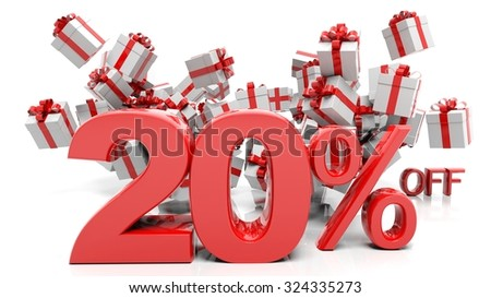 20% 3D numbers with bunch of gift boxes,isolated on white background. - stock photo