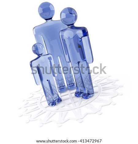 3D object from the glass on a white, family - stock photo