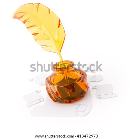 3D object from the glass on a white, inkwell and pen - stock photo