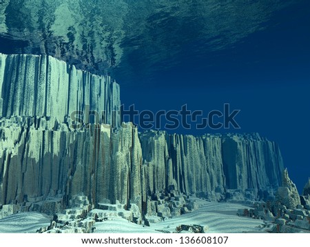 3D Ocean floor - stock photo