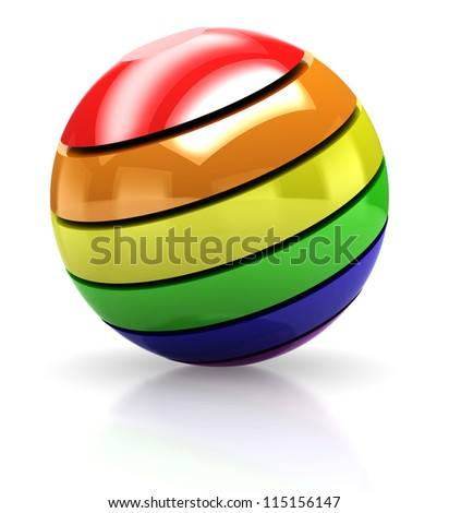3d of colorful ball isolated on a white background - stock photo