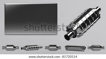 3D of reflecting catalytic converters and grey plate - stock photo