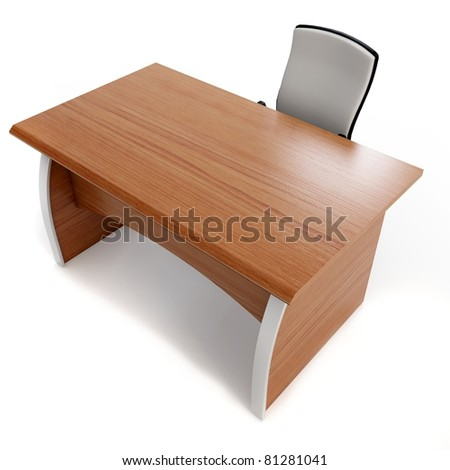 3d office desk with chair isolated on white - stock photo