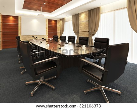 3D Office meeting room - stock photo