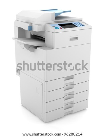 3d office multifunction printer isolated on white background - stock photo